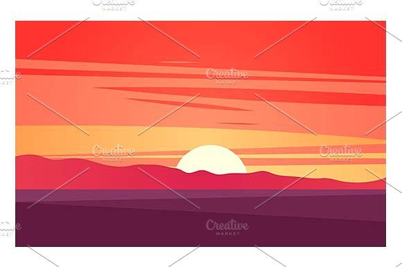 Sunset landscape by Kurokstas on @creativemarket
