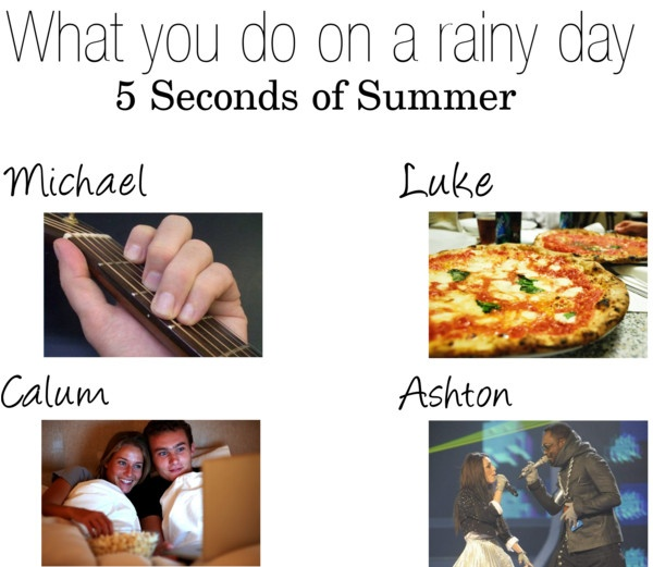 """What you do on a rainy day {5 Seconds of Summer}"" by lots-o-preference ❤ liked on Polyvore"