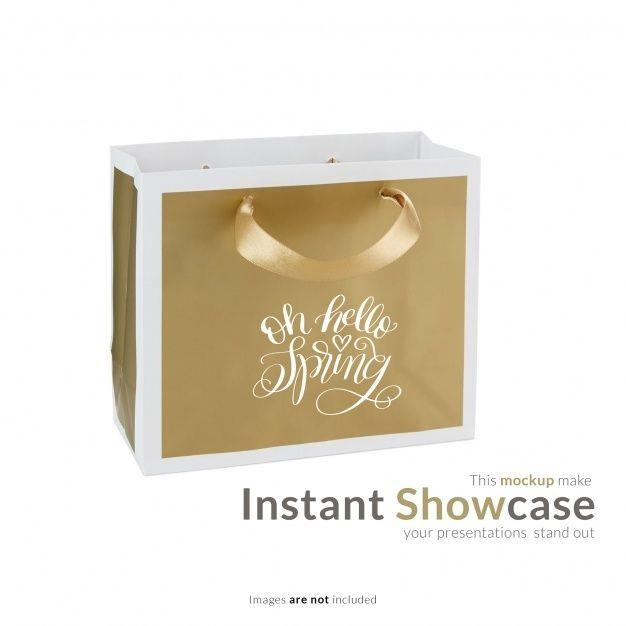 Download Download Golden Gift Bag Mock Up For Free Gift Bag Free Psd Gifts