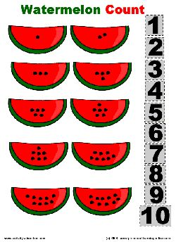 Free watermelon count worksheet.