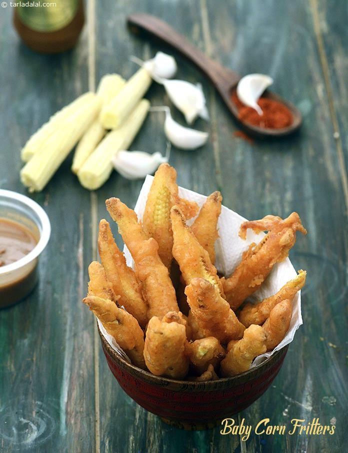 Baby Corn Fritters, Fried Baby Corn recipe | by Tarla Dalal | Tarladalal.com | #32729