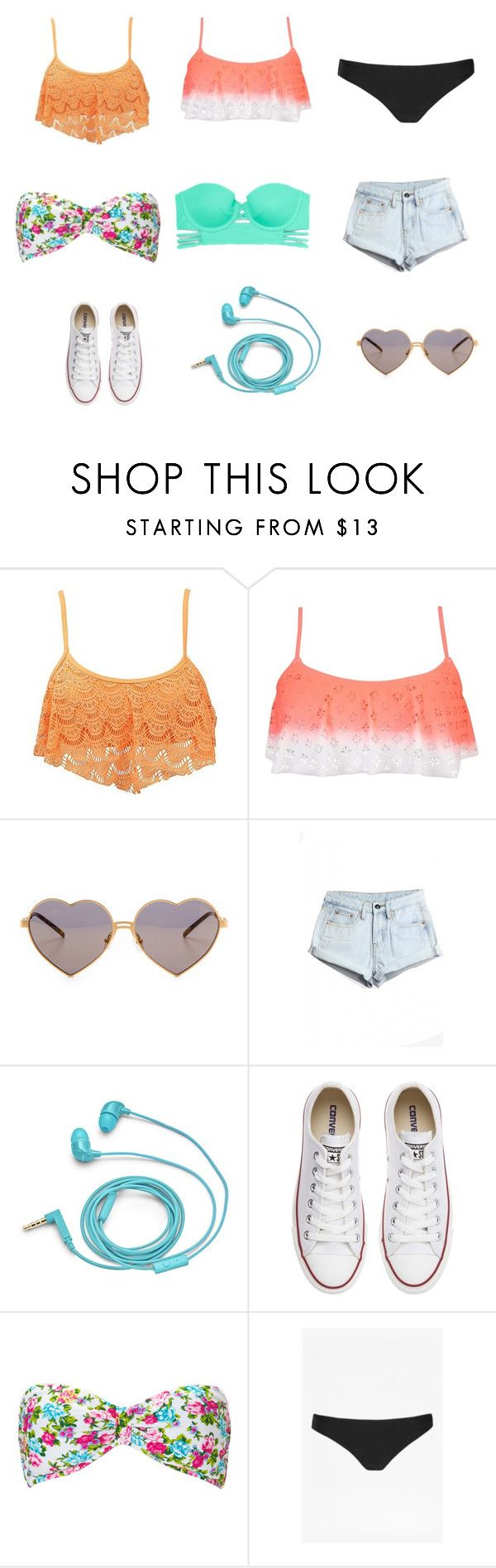 """""""Beach or pool day"""" by sarahlederman ❤ liked on Polyvore featuring Roxy, 99 Degrees, Wildfox, WithChic, FOSSIL, Converse, Forever 21, French Connection, Victoria's Secret and women's clothing"""