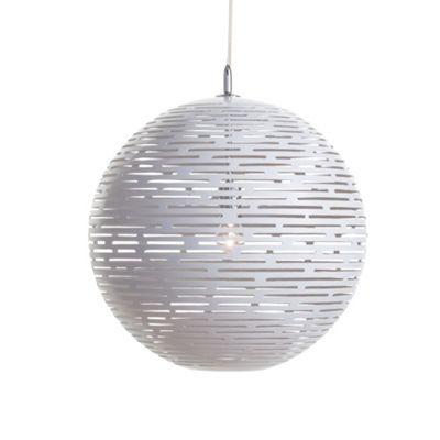 Litecraft 1 Light Slotted Ball Ceiling Light Pendant - White- at Debenhams.com