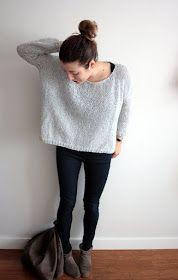 Voici donc un look avec mon pull doudou tricoté la semaine dernière.   Plus je le regarde et plus je m'aperçois qu'il est très ressemblant ...