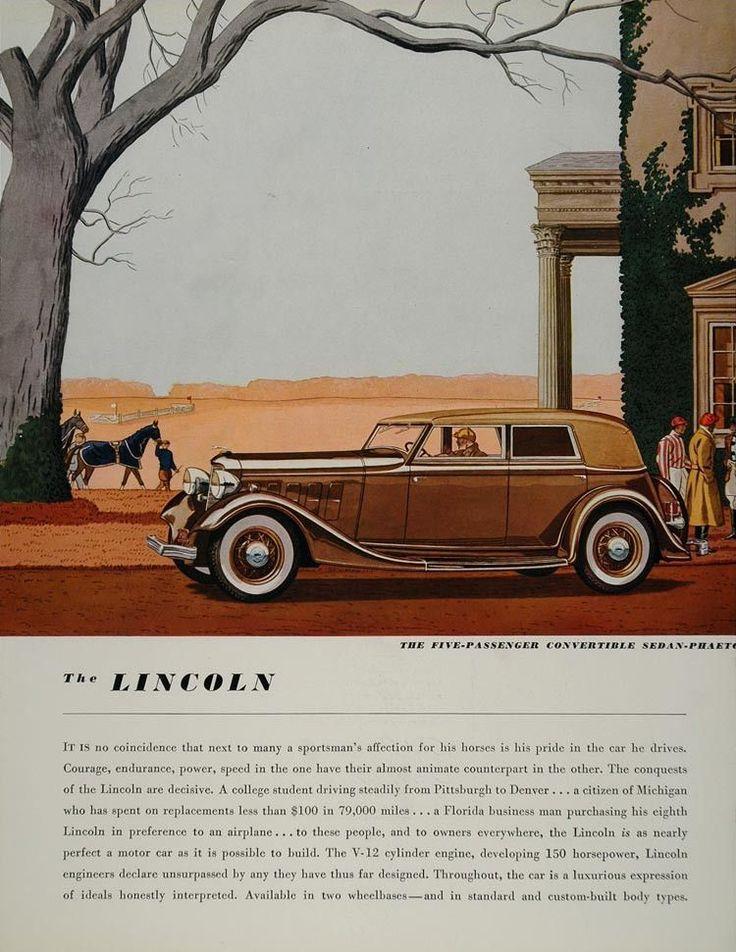 1934 Ad Lincoln Convertible Sedan Phaeton Horse Farm - ORIGINAL ADVERTISING FT1