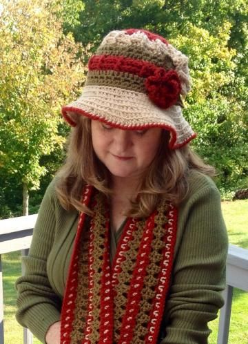 #Crochetfloppyhat and scarf with flowers, floppy hat, crochet hat, fall hat, crochet scarf, fall scarf by #onceuponaroll #zibbetflash -  $29.00