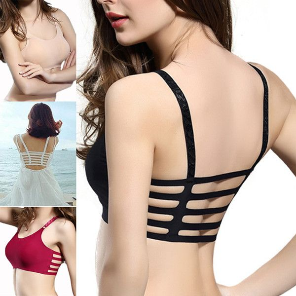 Hot Sexy Ice Silk Breathable Hollow Out Back Soft Backless Yoga Camisole Bras - NewChic