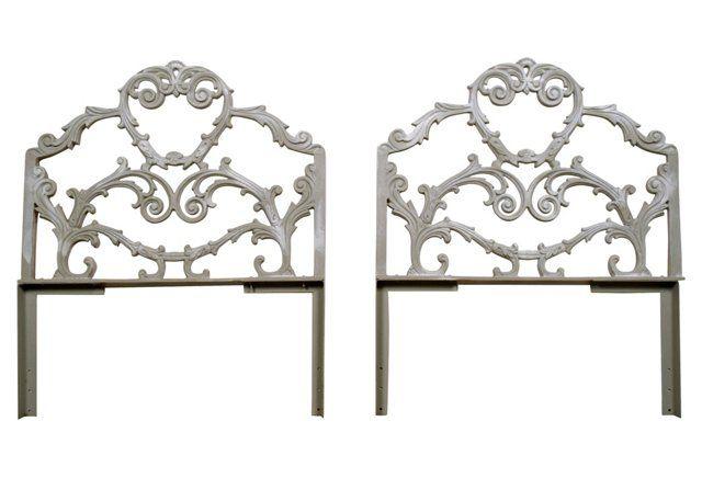 Louis XVI-Style Cast Iron Headboards, Pr