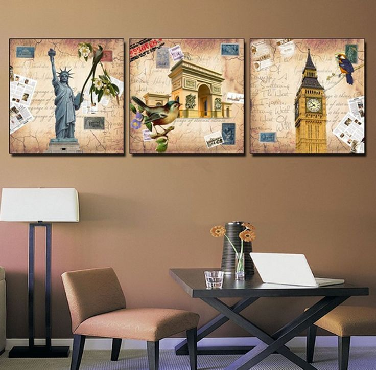 Amazon.com: Hot Sell 3 Panels 40 x 40 cm Modern Wall Painting New York London Rome Picture Home Decorative Art Paint On Canvas Prints: Posters & Prints