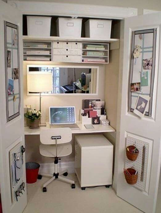 A compact working space. It doesn't have to be in a closet, I think it will work for any narrow space.
