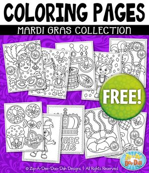 """{FREE} MARDI GRAS Printable Coloring Pages   Includes 10 Pages!You will receive 10 printable coloring pages within this MARDI GRAS THEMED COLORING PAGES PACK. Coloring pages are 8.5"""" x 11"""" which is a standard paper size and will be color by color or free play color."""