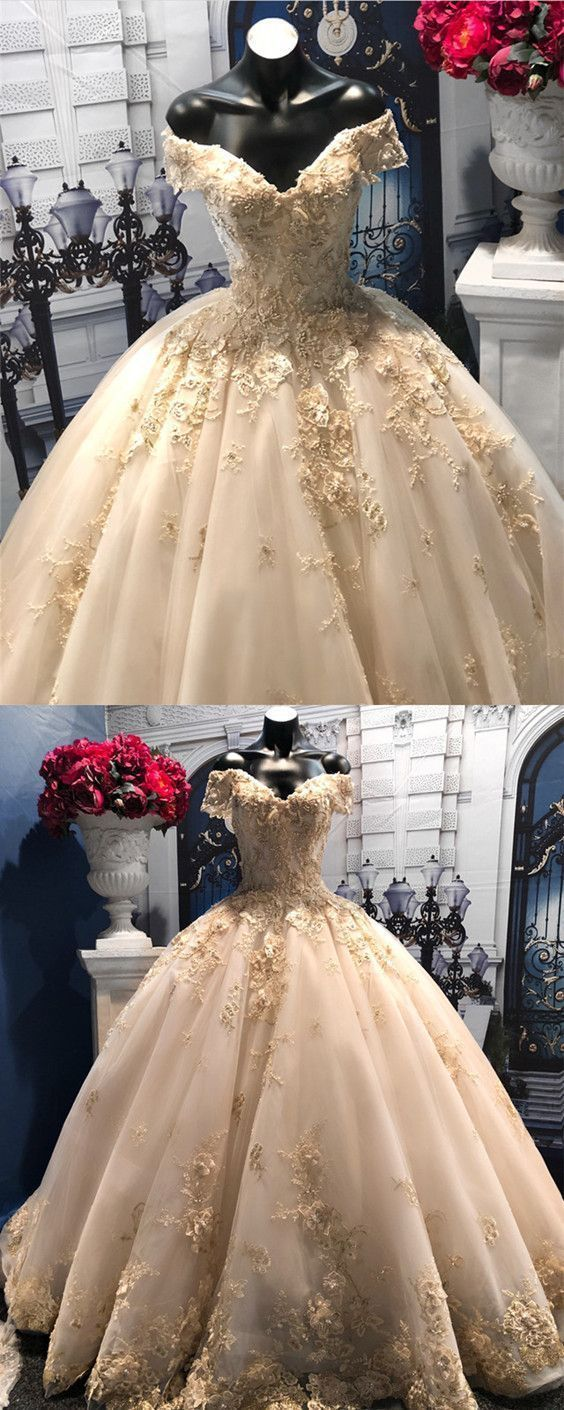 Light Champagne Tulle Ball Gowns Wedding Dresses Lace V-neck Off-the-shoulder bridal gowns #Champagne