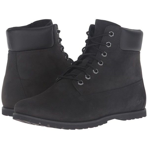 Timberland Joslin 6 Boot (Black Nubuck) Women's Lace-up Boots ($130) ❤ liked on Polyvore featuring shoes, boots, laced up boots, lace up shoes, front lace up boots, nubuck boots and kohl boots