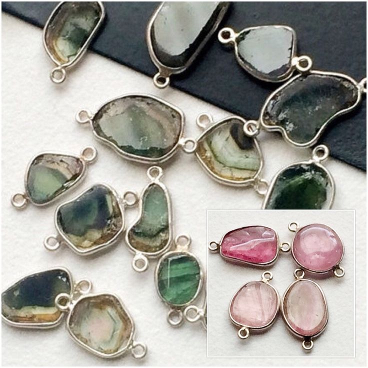 Green & Pink Tourmaline Connectors/ 925 Silver Bezeled Tourmalines - these unique and rare pieces are completely breath taking. Shop these at a flat 55% off. Only on Gemsforjewels!