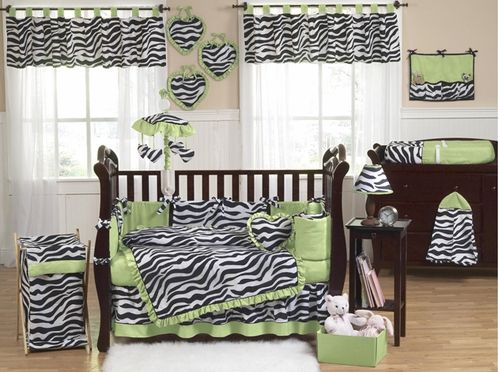 Lime Funky Zebra Baby Bedding - 9 pc Crib Set - Click to enlarge