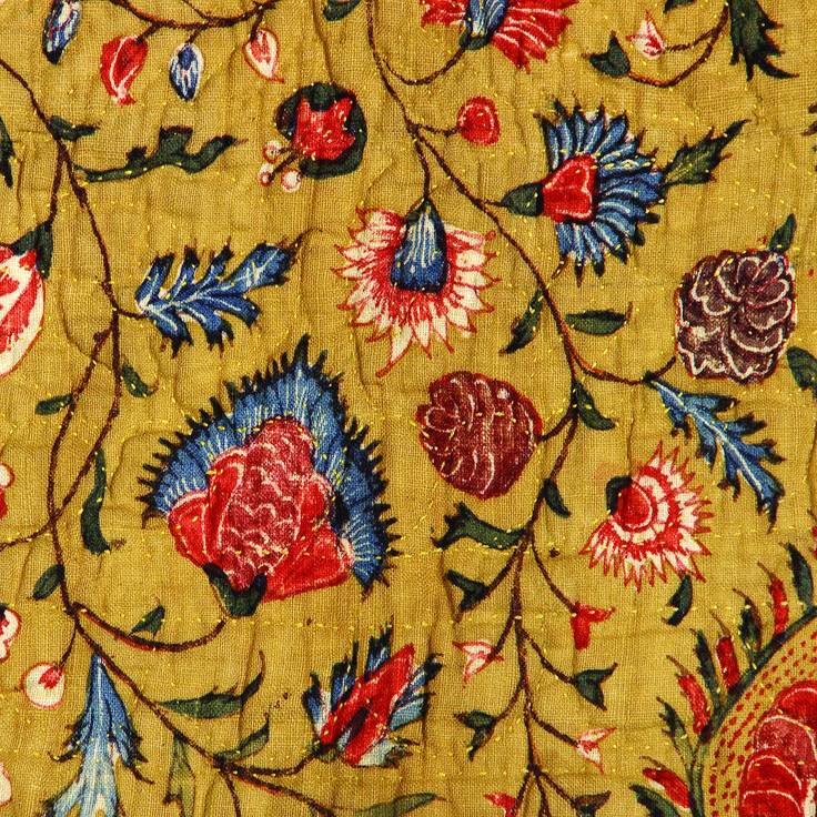 Detail of 18th century cribquilt, made of Indian handpainted chintz, Museum Texel