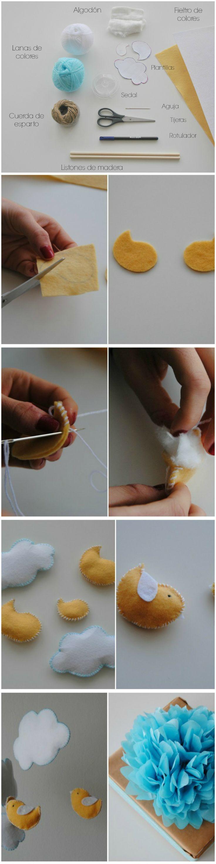 Móvil para decorar. #DIY Más detalles en http://dondelascosasbonitasblog.blogspot.com.es/2014/03/diy-movil-para-la-habitacion-de-un-bebe.html