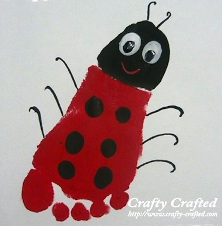 Footprint art, sweet idea to keep those little kiddies busy on rainy spring days