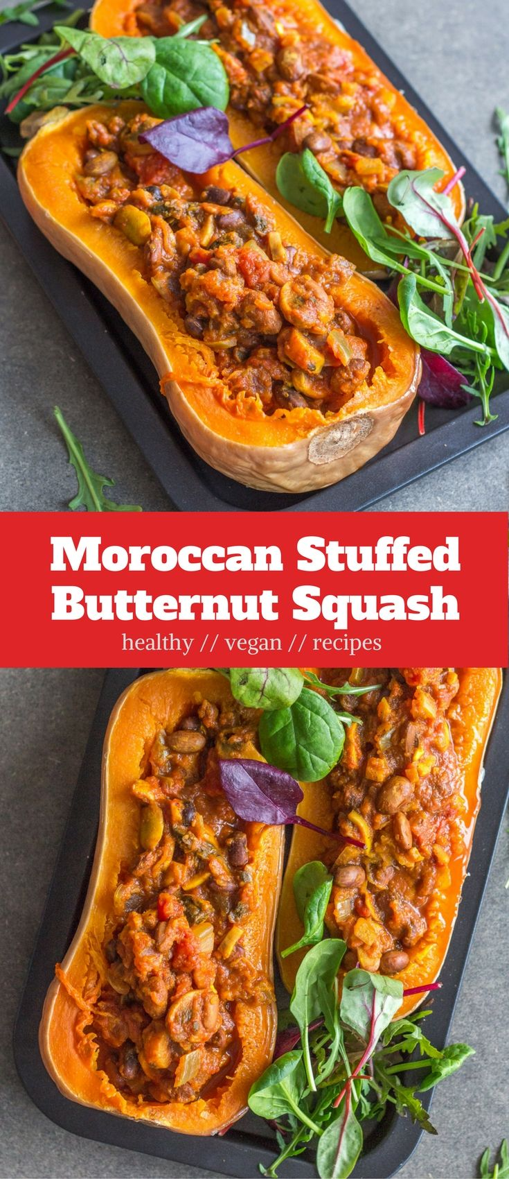 Moroccan Stuffed Butternut Squash, which is full of flavour and protein, satisfying, and healthy. A delicious vegan dinner idea. #vegan #dinner #plantbased #recipes #healthy #moroccan