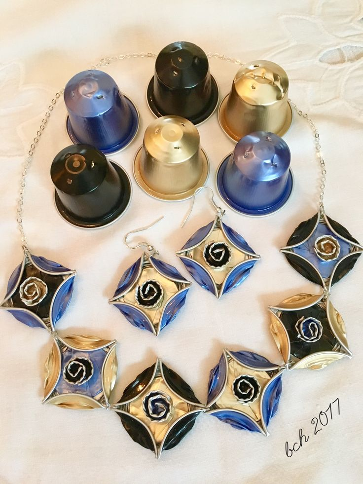 Necklace and earrings- Nespresso capsules