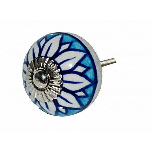 New Ceramic 4cm Blue/White Floral - Ceramic