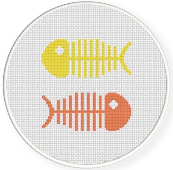 (10) Name: 'Embroidery : Fish Bones Cross Stitch Pattern