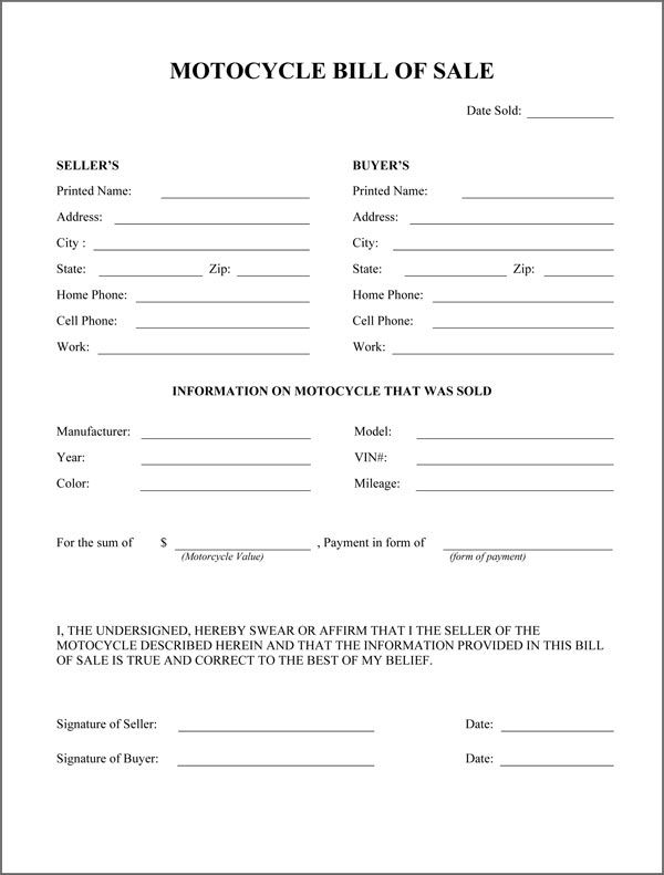 Motorcycle Bill Of Sale Form Bill Of Sale Template Legal Forms Bill Of Sale Car