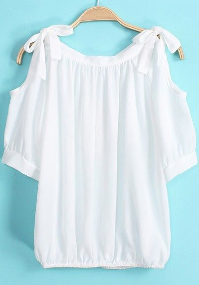 Love the Bows! White Bows Cut Out Shoulder Short Sleeve Chiffon Blouse