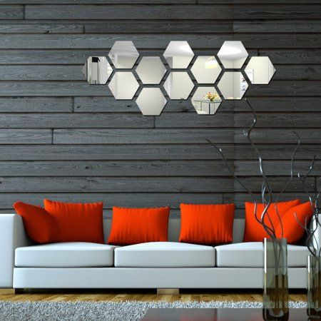 "Geometric Hexagon 7 Pcs Honeycomb 6.3""*7.1"" Acrylic Mirror Sheets Plastic Wall Decoration Piexiglass Panels Unbreakable Room Decor"