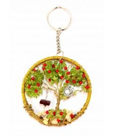 wire tree of life keychain with birds nest and a swing