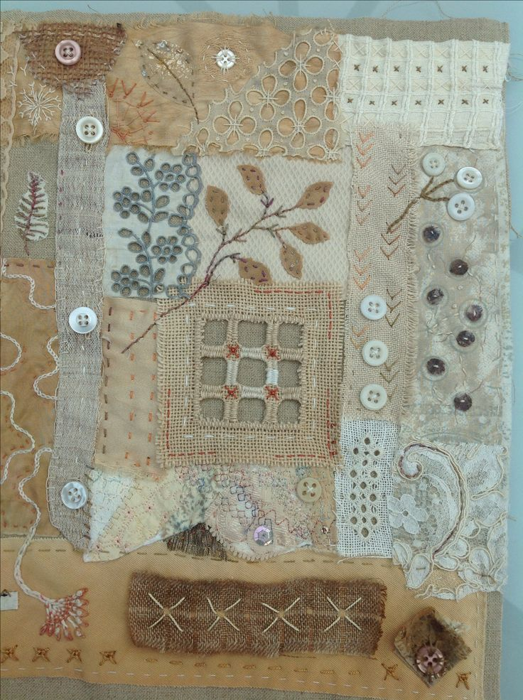 Stitched collage of precious scraps