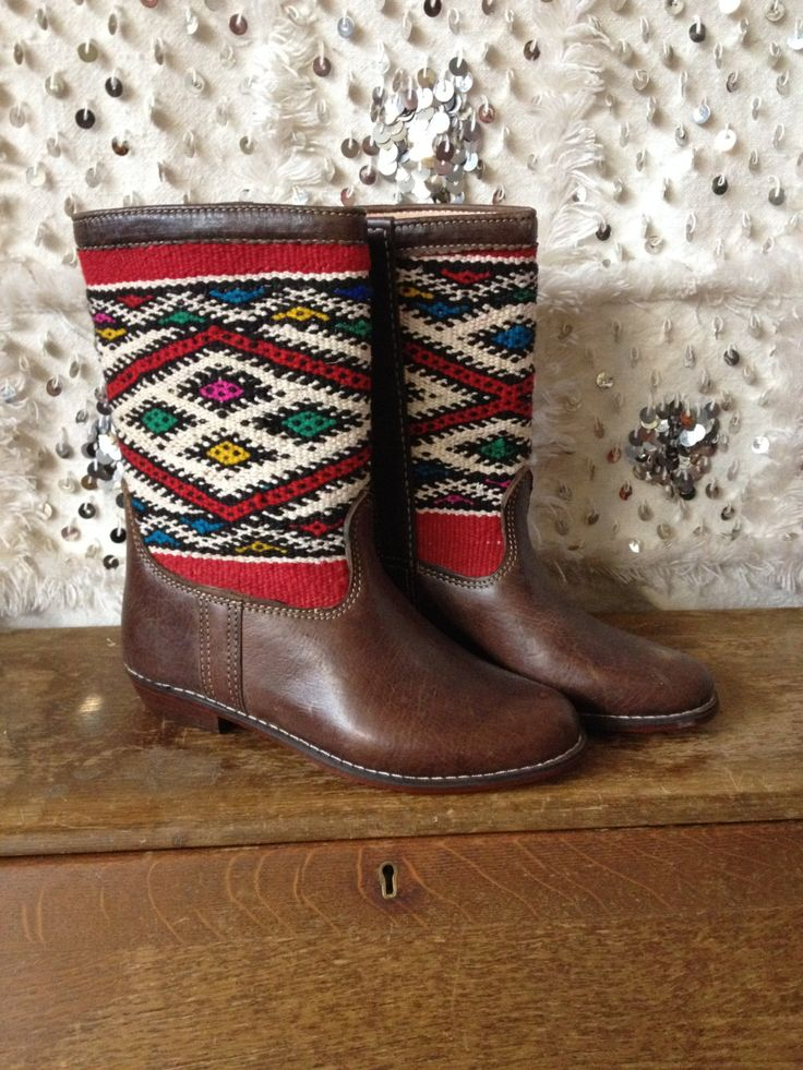 Moroccan Vintage Kelim Leather Boots by Artofvintagesouk on Etsy