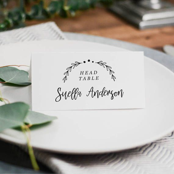 Printable Place Card Template, Wedding Place Cards, Rustic Place Cards