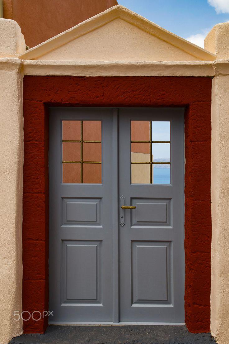 Entrance - Entrance of a building at Santorini Island.