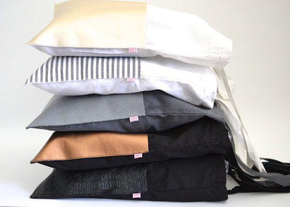 Unisex shopper zwart grijs jute zak ik tote tas zwart