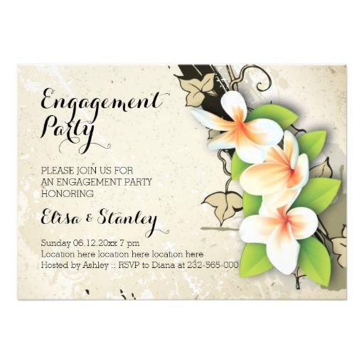 Vintage plumeria or frangipani and ivy custom beige wedding engagement party invitation