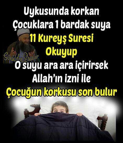 Gece uykusunda Korkan çocuklar için dua Kureyş Sûresi