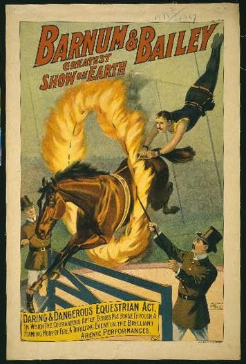 The Barnum & Bailey Greatest Show on Earth, Daring & Dangerous Equestrian Act - Vintage Circus Poster