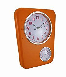 Plastic Outdoor Clocks Bright Orange Wall Clock With Temperature Display 9.75 X 12.5 X 1.5 Inches Orange Model # E072-OR-00