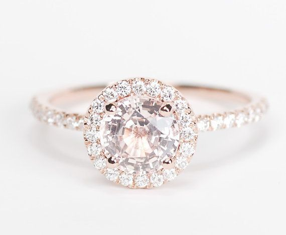 Peach Halo Engagement Ring. Quite beautiful - Sarah                                                                                                                                                                                 More