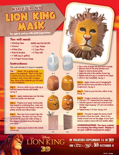 Lion King Mask – and other Lion King themed craft & food ideas