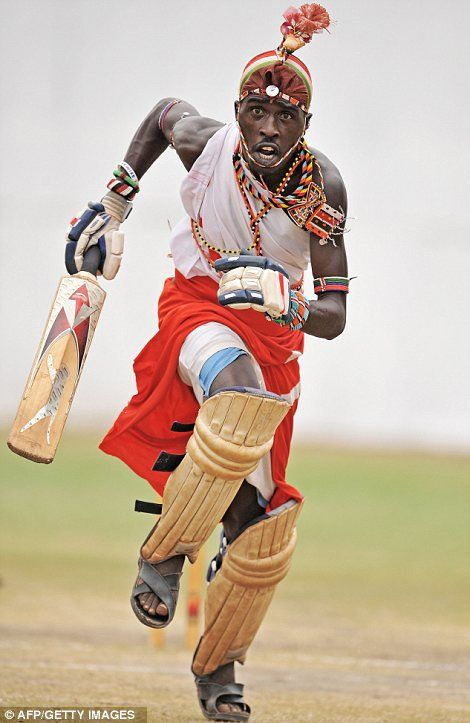 A Maasai cricket warrior from the semi-nomadic cattle herders of Kenya.