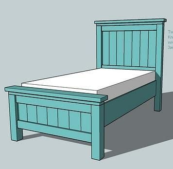 Ana White Website-DIY woodworking plans. Farmhouse Collection twin bed. We're making 2 of these for the boys room. Much cheaper than the Pottery Barn version :)