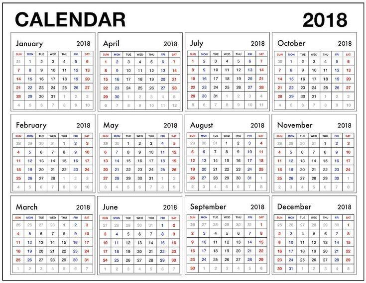 12 month calendar 2018 pdf