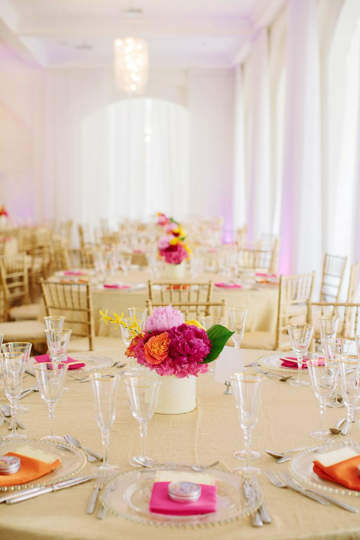 Bright & Colorful Wedding Tables   See more of the wedding on SMP -  http://www.StyleMePretty.com/massachusetts-weddings/2014/01/08/belle-mer-wedding/  Anna Wu Photography