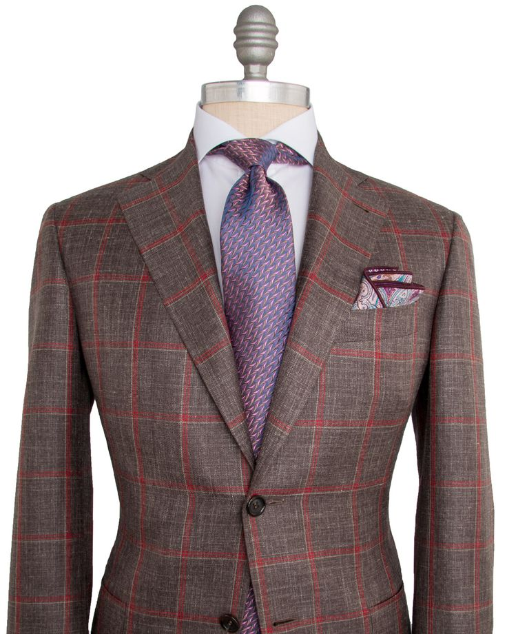 Canali | Brown with Red and Tan Windowpane Sportcoat | Apparel | Men's