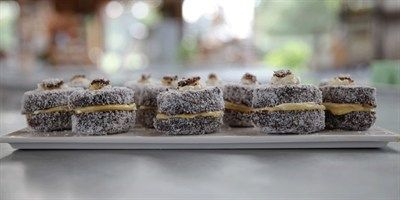 Try this Lamingtons  recipe by Chef Noel.This recipe is from the show The Great Australian Bake Off.