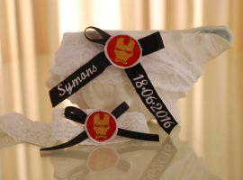 """Personalised """"Ironman"""" garter set."""