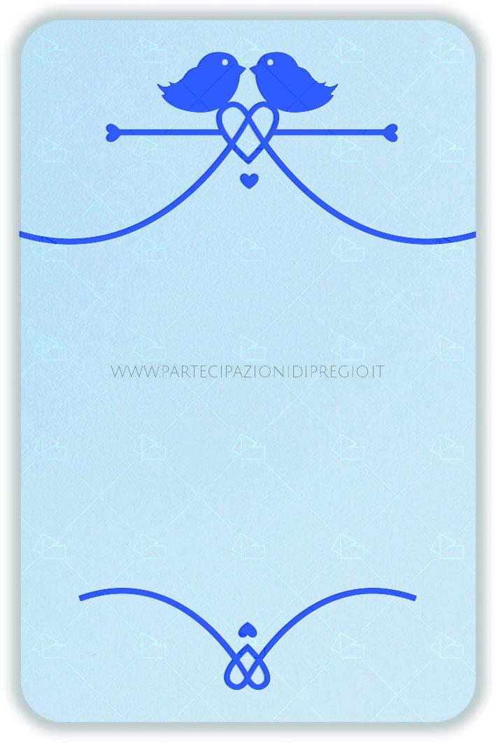 Partecipazione di matrimonio - dimensione: 17 x 11 - forma: Vassoio rettangolare angoli stondati - carta: Gmund Cotton - Gentlemen Blue - 300, 600, 900 gr. - linea: uccellini con cuore - modello: uccellini con cuore tipo 1 ver. 1 - lavorazione press: uccellini con cuore