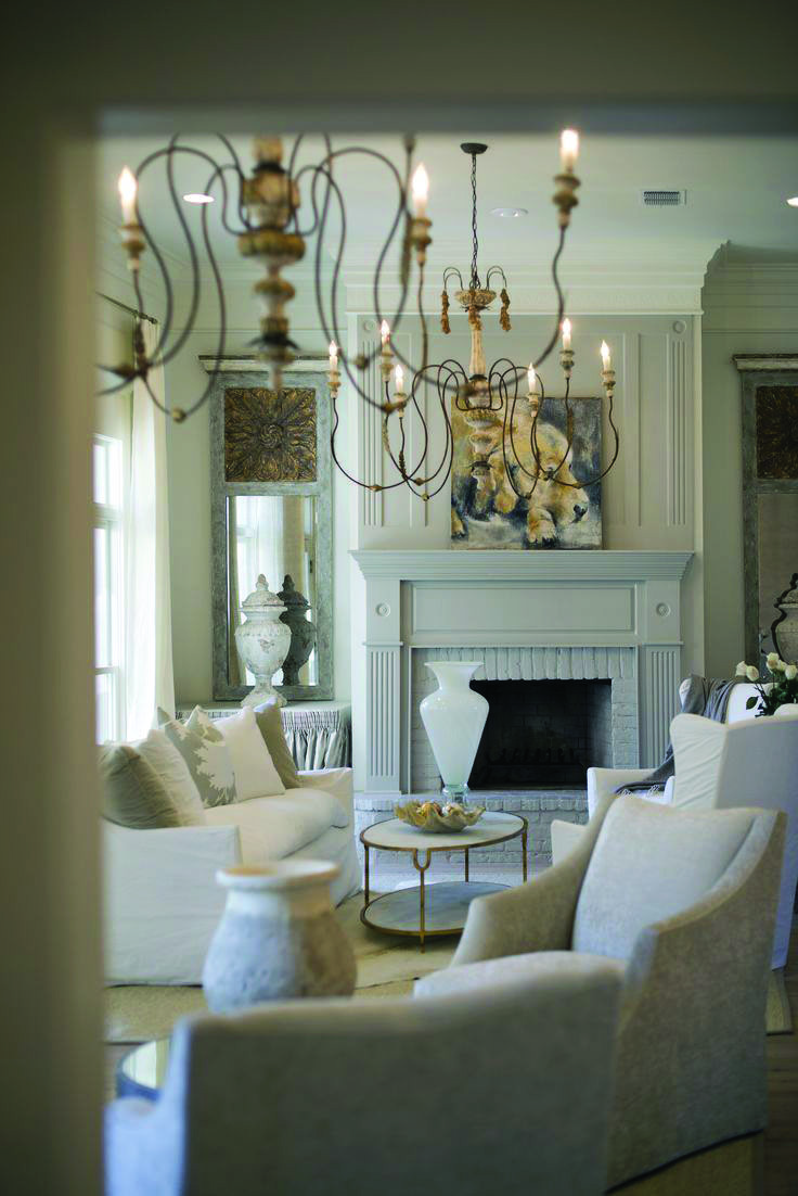 All White Living Rooms Home Stre Chandelier In Living